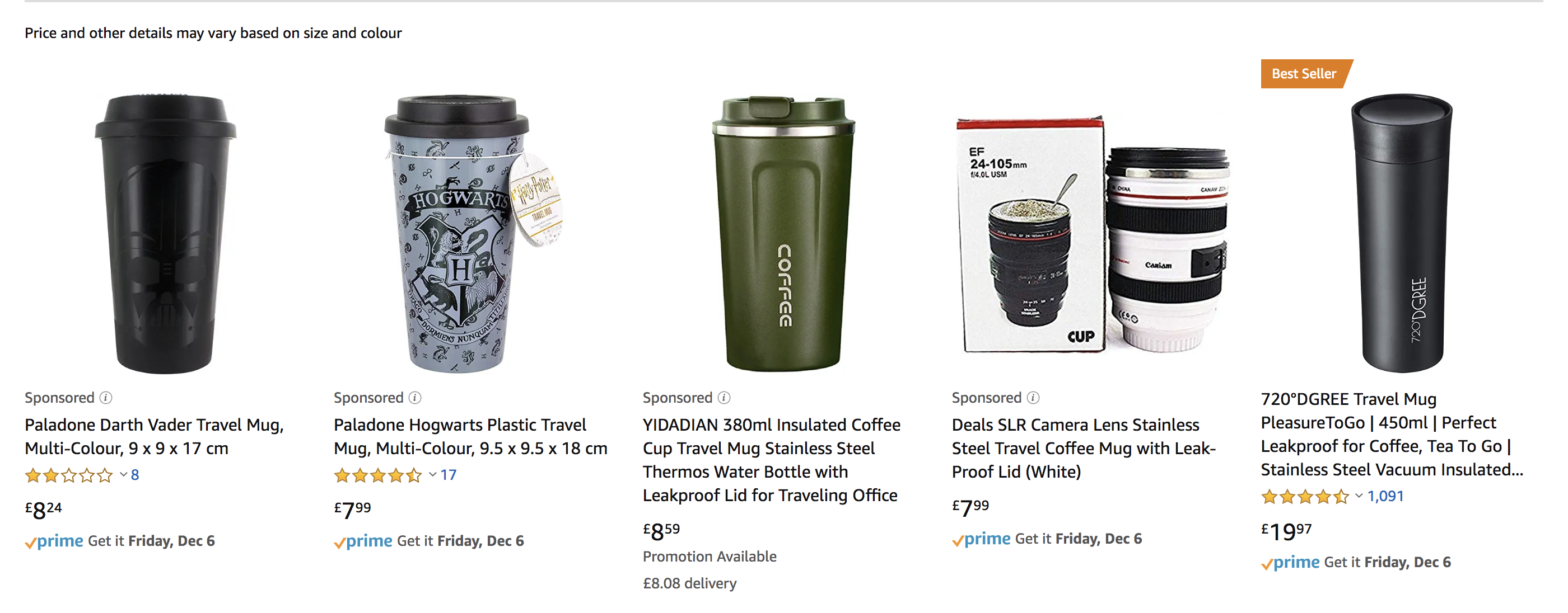 Sceenshot of sponsored coffee mugs on Amazon