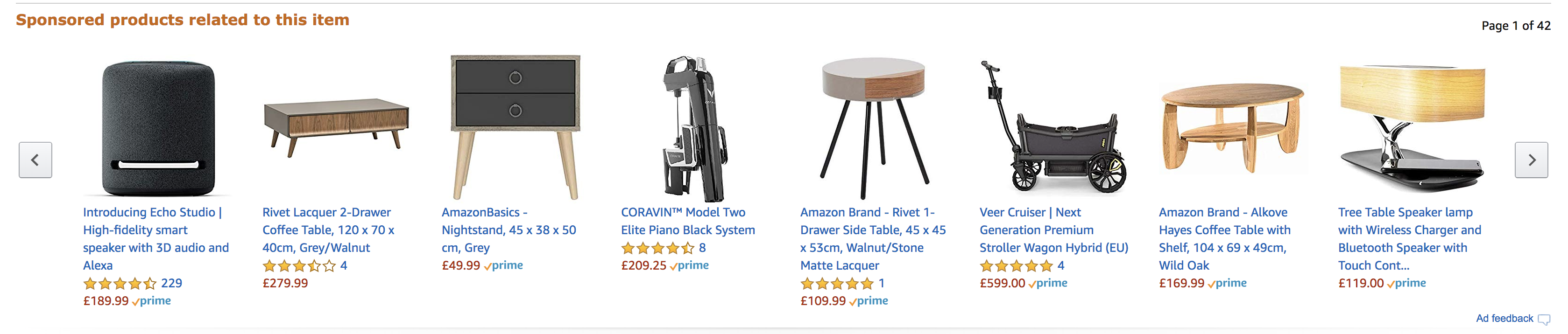 Screenshot of product display ads on Amazon