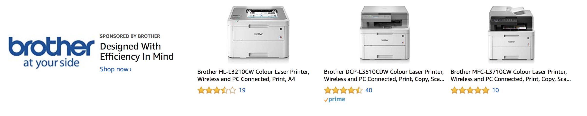 Screenshot of brand ad on Amazon for Brother printers.