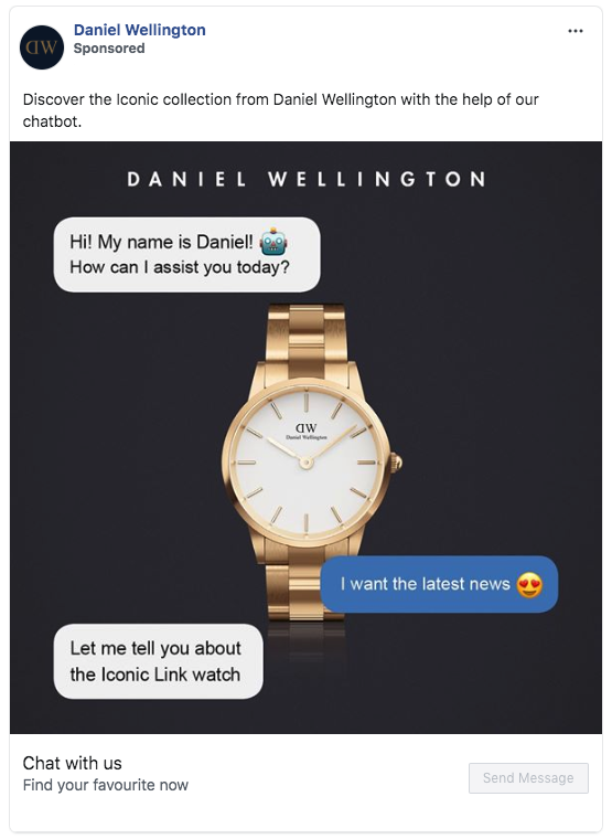 Facebook advertisement for Daniel Wellington that shows chat messages asking how they can assist and the person wants latest news. They want to link to the Iconic link watch.
