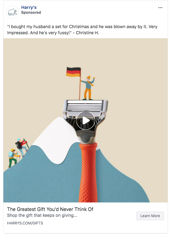 Facebook advertisement showing a video for Harry's which is a men's shaver brand. They use creativity with paper to construct the video. It shows a flag for Germany which means this was targeting a specific country.
