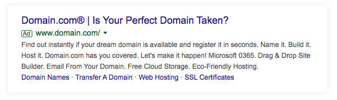 Screenshot of an ad for Domain.com