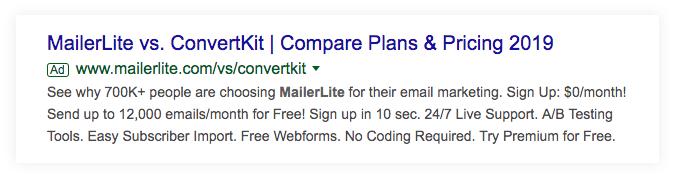 Google ad showing a comparison add for Mailerlite vs Convertkit