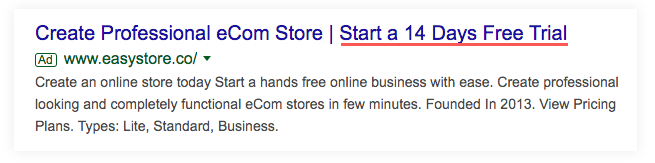 Google Ad for Easystore that focuses on starting a 14 day free trial.