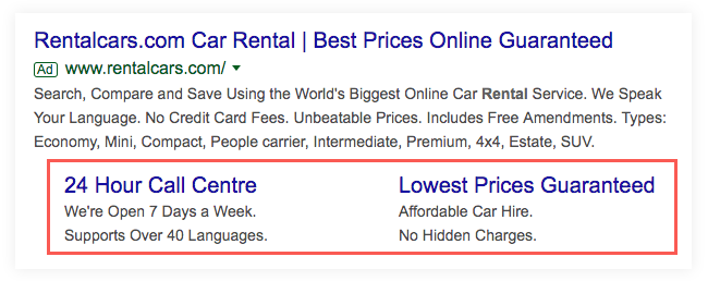 Google Ad for Rentalcars.com. It's highlighting the ad extensions.