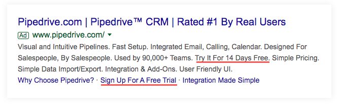 Google Ad for Pipedrive.