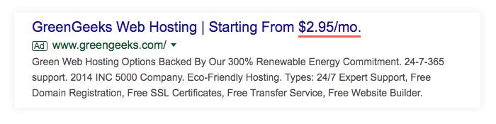 Google Ad showing GreenGeeks web hosting