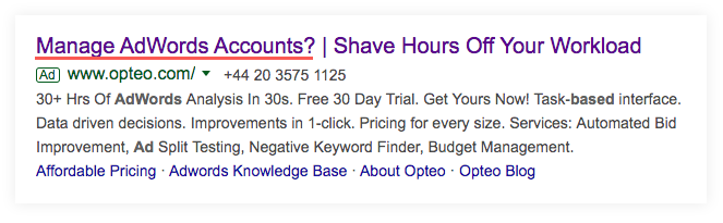 Google ad for opteo