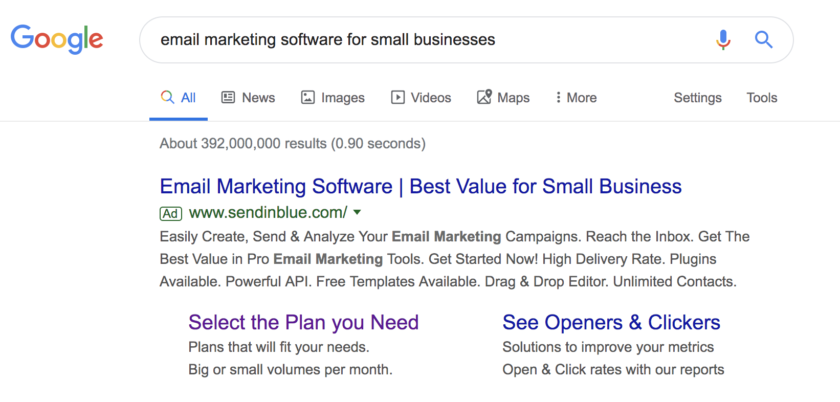 Screenshot of a Google search for the keyword email marketing software for small businesses