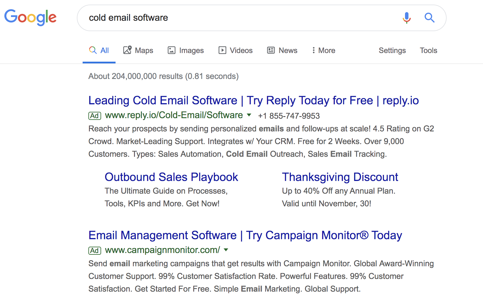 Google search for the keyword Cold Email Software