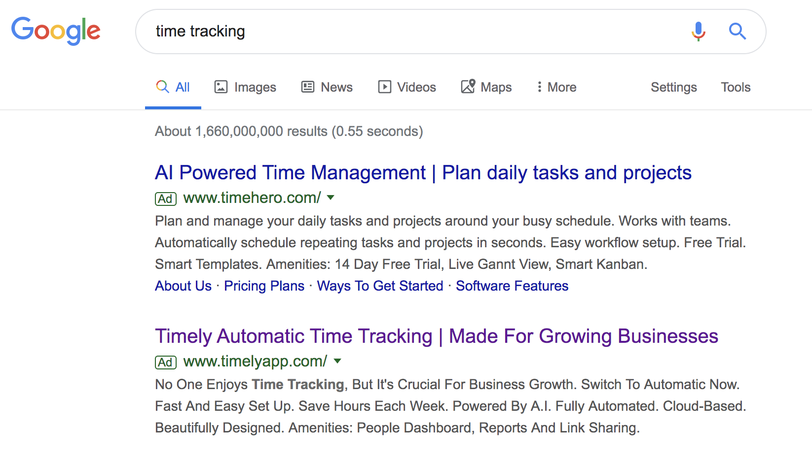 Google Search for the keyword Time Tracking
