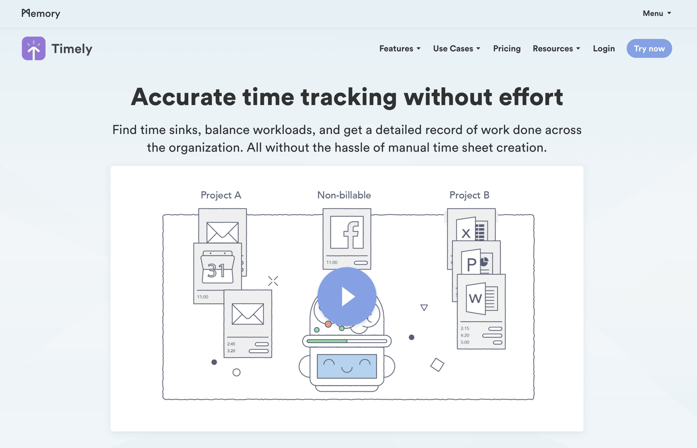 Screenshot of a landing page from Timely