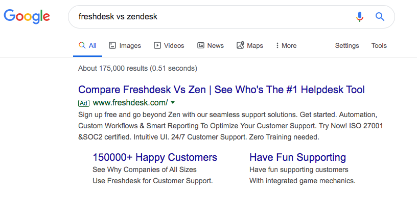 Screenshot of Freshdesk vs Zendesk google search