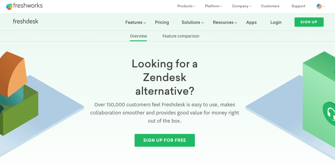 Screenshot of Freshdesk vs Zendesk landing page