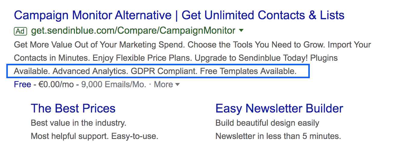Screenshot of Campaign monitor ad in Google search