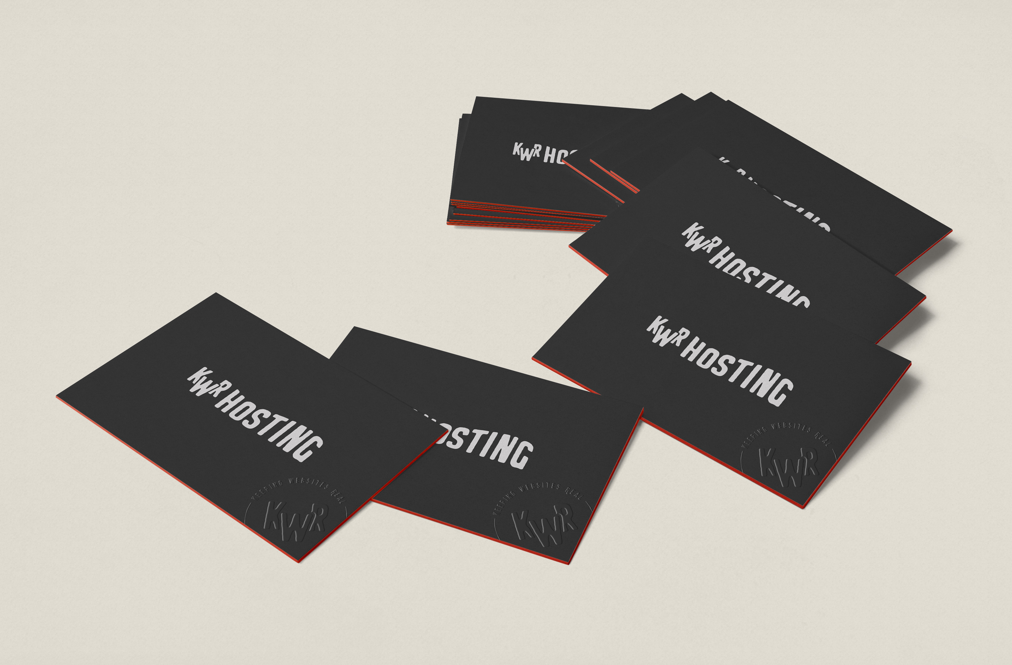 Keeping Websites Real Brand Identity secondary logo business card 70s inspired all caps raised gloss black on black