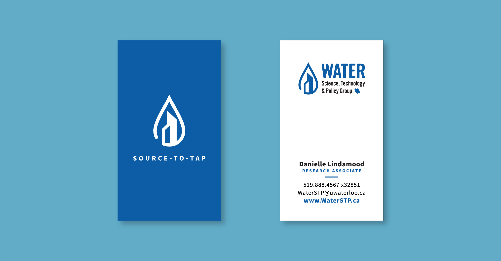 Water technology service for municipalities brand identity logo water drop with buildings business card