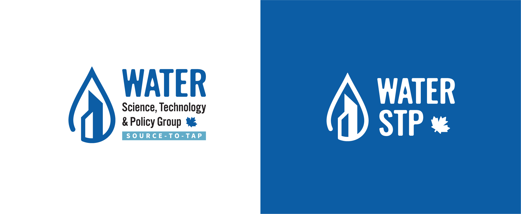 Water technology service for municipalities brand identity logo water drop with buildings tagline