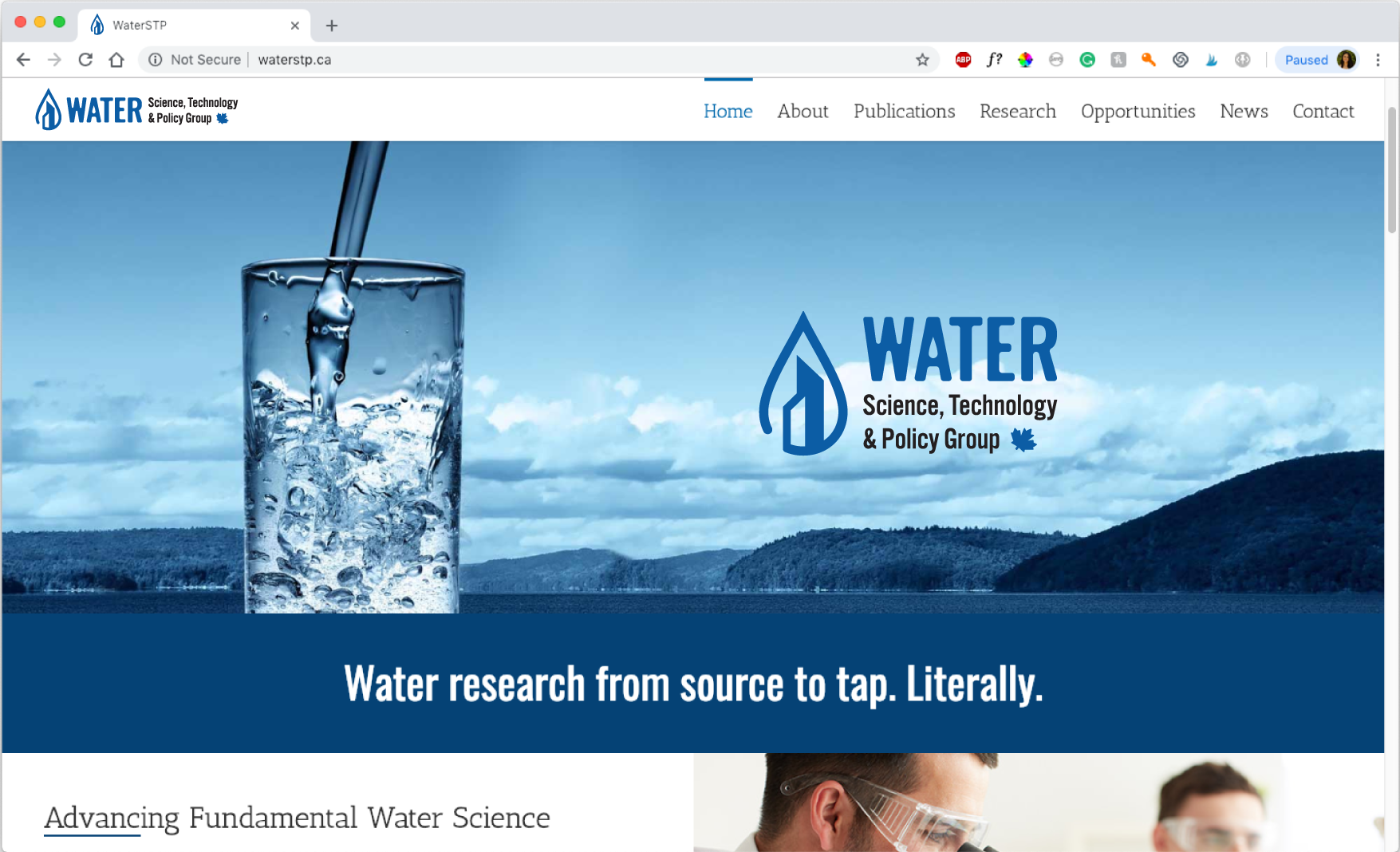 Water technology service for municipalities brand identity logo water drop with buildings website