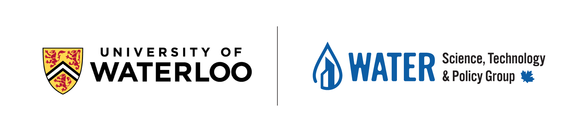 Water technology service for municipalities brand identity logo water drop with buildings university of waterloo