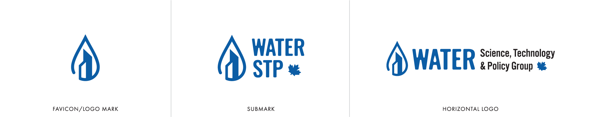 Water technology service for municipalities brand identity logo water drop with buildings alternate stacked and horizontal logo