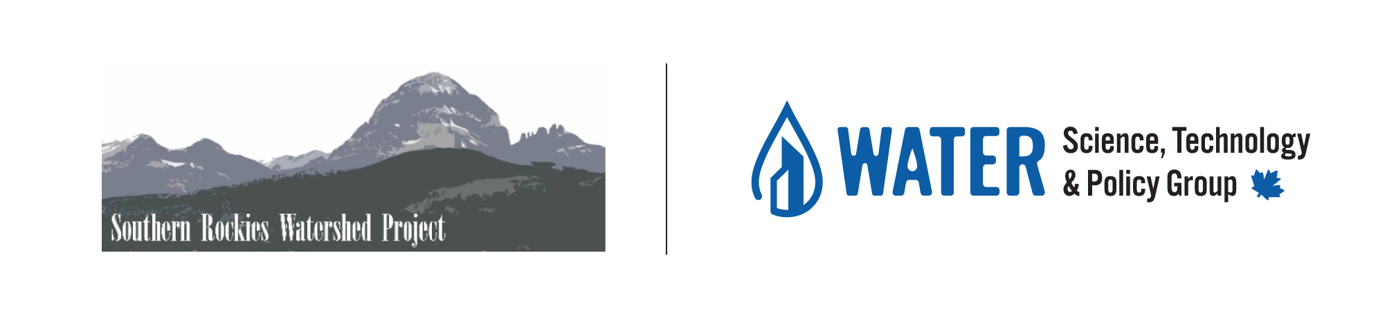 Water technology service for municipalities brand identity logo water drop with buildings rocky mountain watershed project