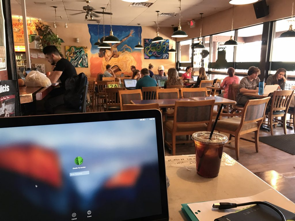 Remote working in a cafe