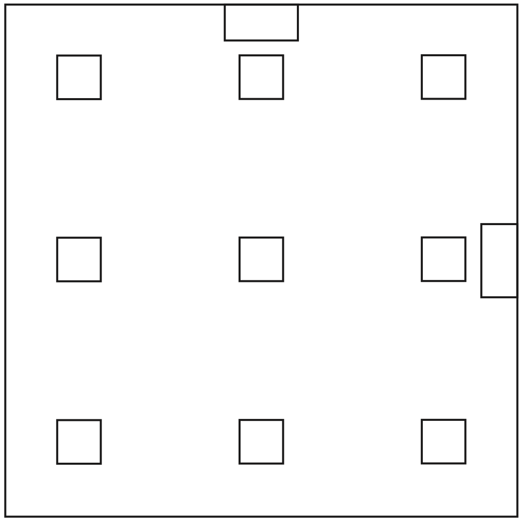 Template of the acrylic base holding the hands on top of the matrix.
