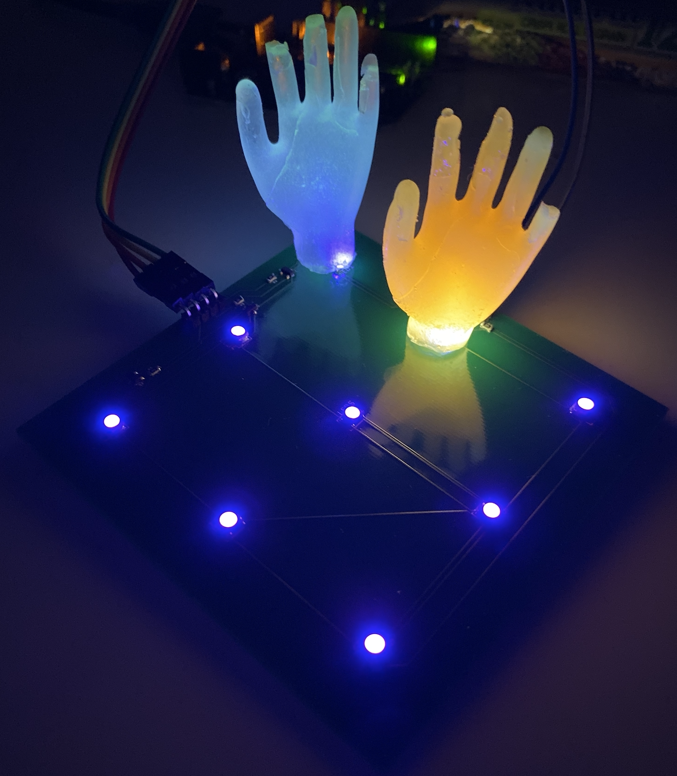 Testing the illumination of the hands on assembled matrix.