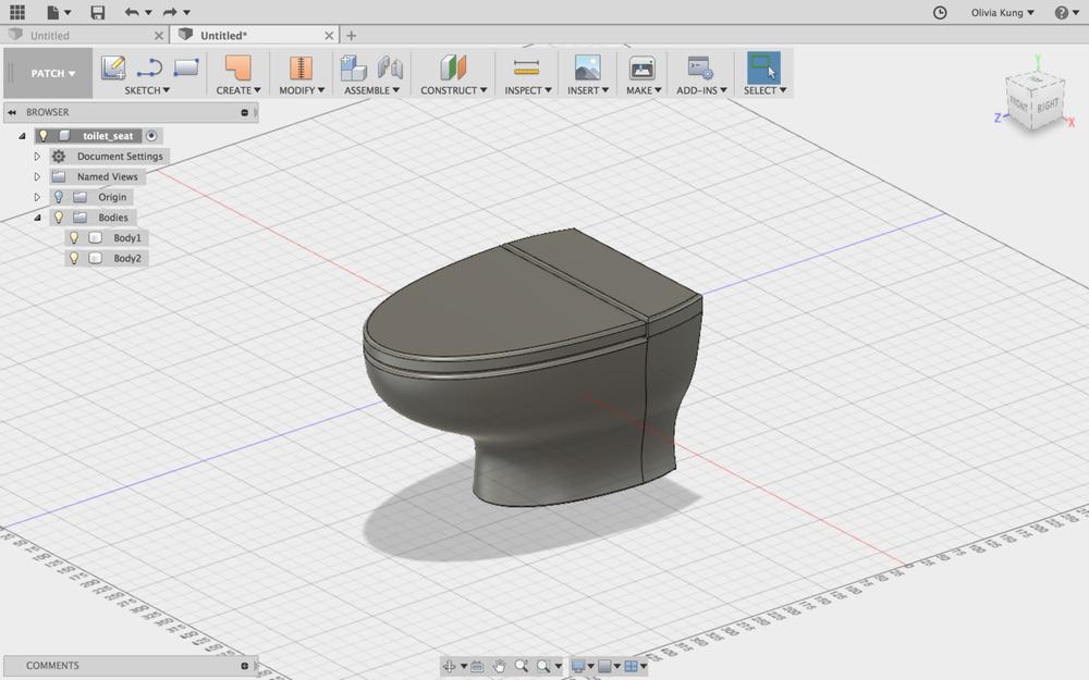Original 3D view of toilet.