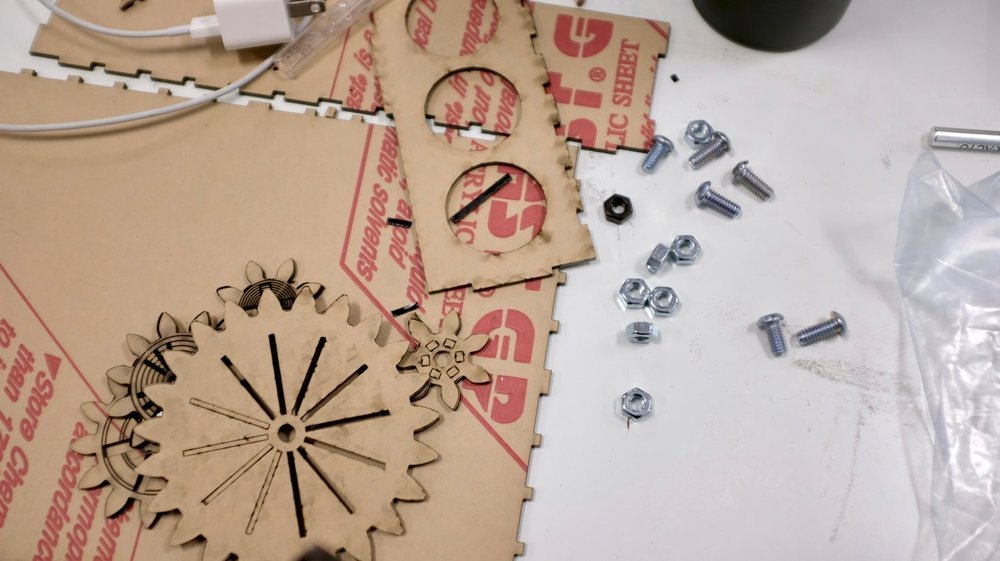 Laser cut gears and box.