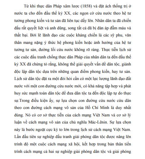 Mẫu lời mở đầu bài tiểu luận tư tưởng Hồ Chí Minh