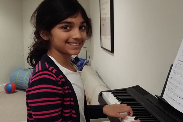 Sejal studies piano at Greenwich Arts Academy