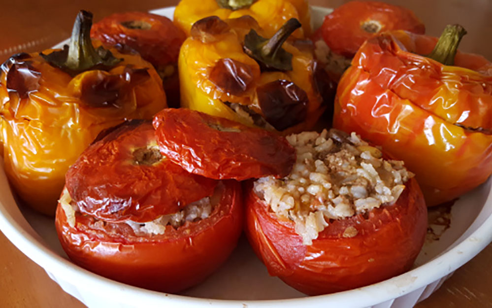 Yiayia's recipe for Stuffed Peppers, Tomatoes & Zucchini (Yemistá)