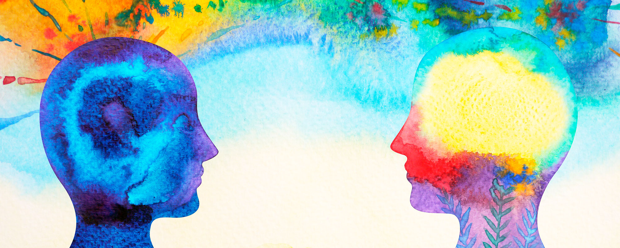 abstract watercolor painting of two figures facing each other