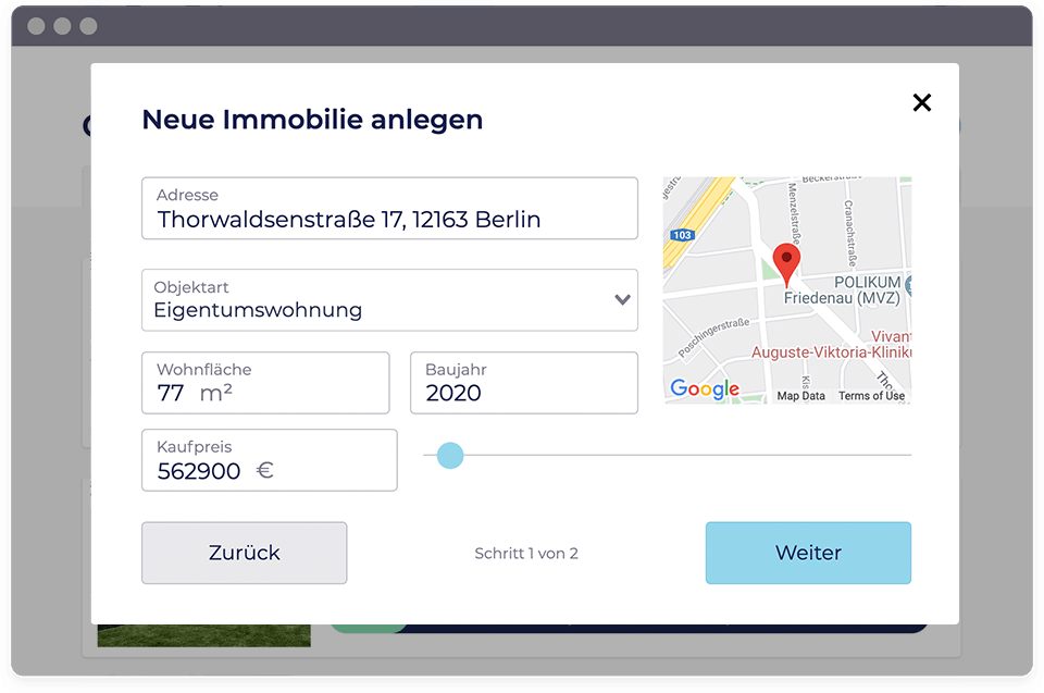 Screenshot vom PropRate Tool, in dem der User seine Objektdaten einträgt