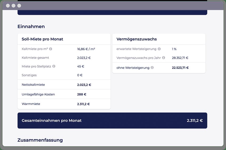 Screenshot von der Objekt-Detailseite vom PropRate Tool, das alle wichtigen Kennzahlen des Objekts zeigt.