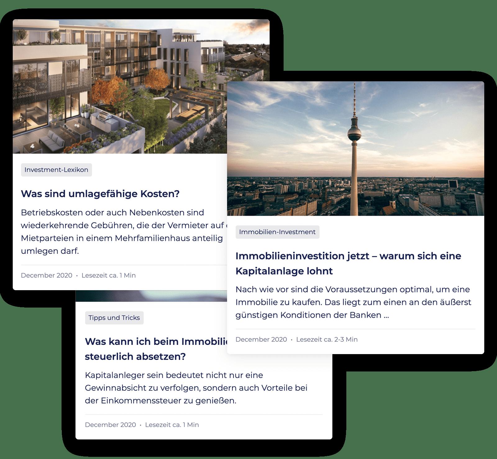 Zusammenstellung von drei Artikeln aus der PropRate Academy