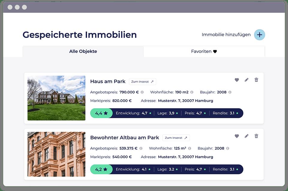 Screenshot vom Dashboard vom PropRate Tool, das mehrere bereits angelegte Immobilien zeigt.