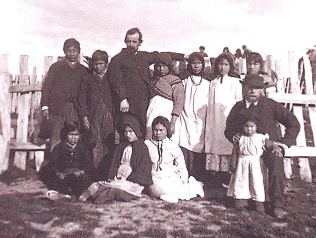 Reverend Thomas Bridges with orphan Yamana kids.