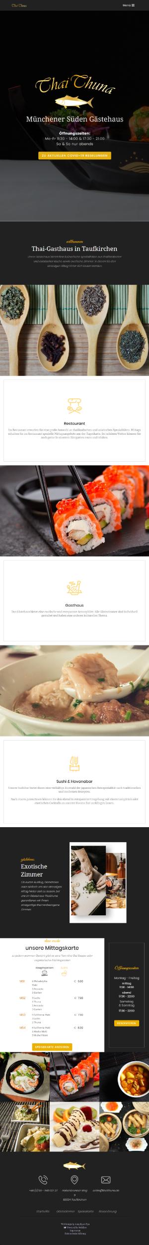Tabletvorschau für die Webseite thaithuna-gasthaus.de
