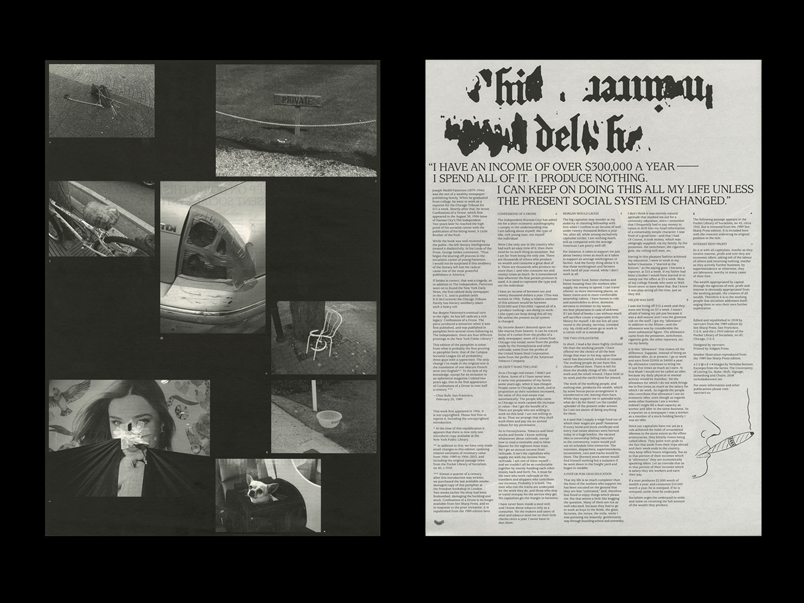 Joseph Medill Patterson Confessions of a Drone publication design