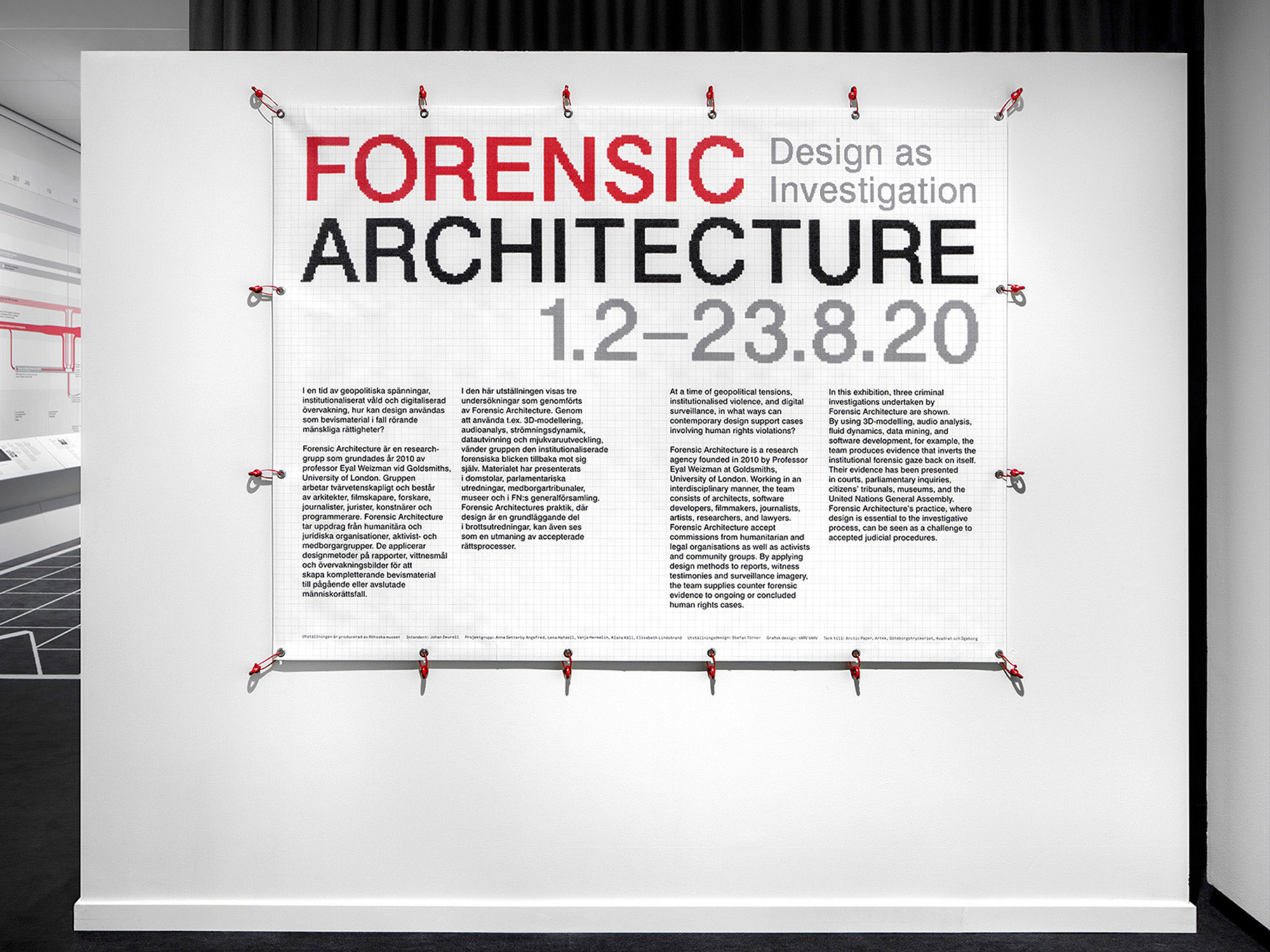 Forensic Architecture Rohsska Museum of Design and Craft exhibition banner