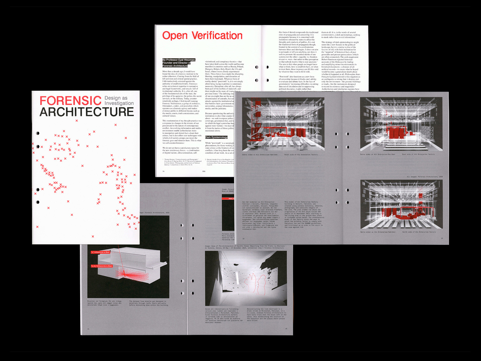 Forensic Architecture exhibition Rohsska Museum of Design and Craft publication design