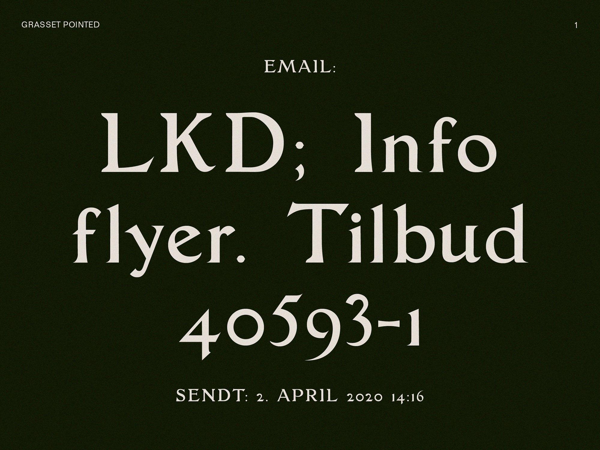 Grasset typeface specimen