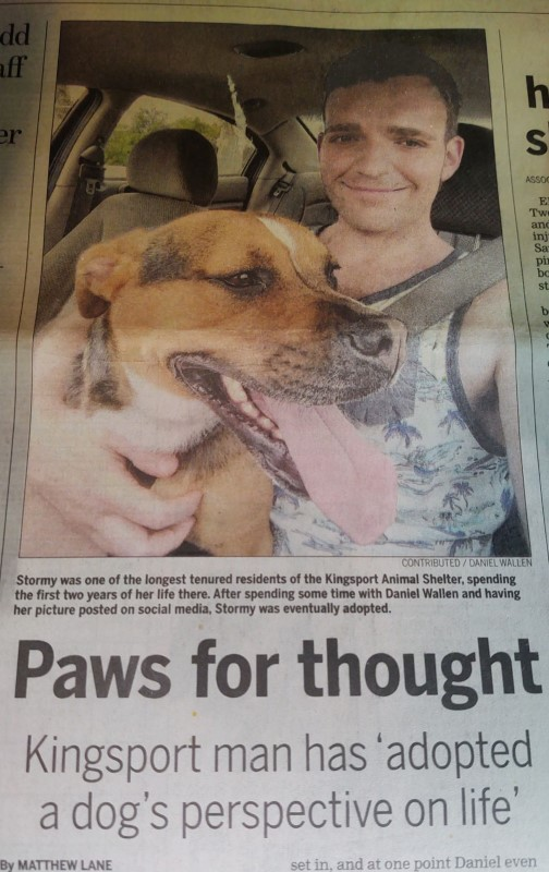 Front page news story from the Kingsport Times-News that covered Daniel Wallen's activities at his local animal shelter, Petworks Kingsport Animal Services