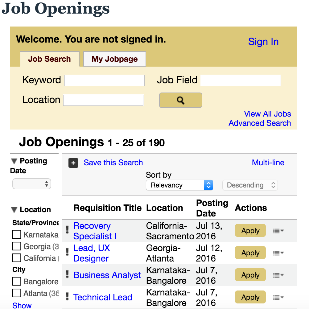 Generic job sites and applicant tracking systems