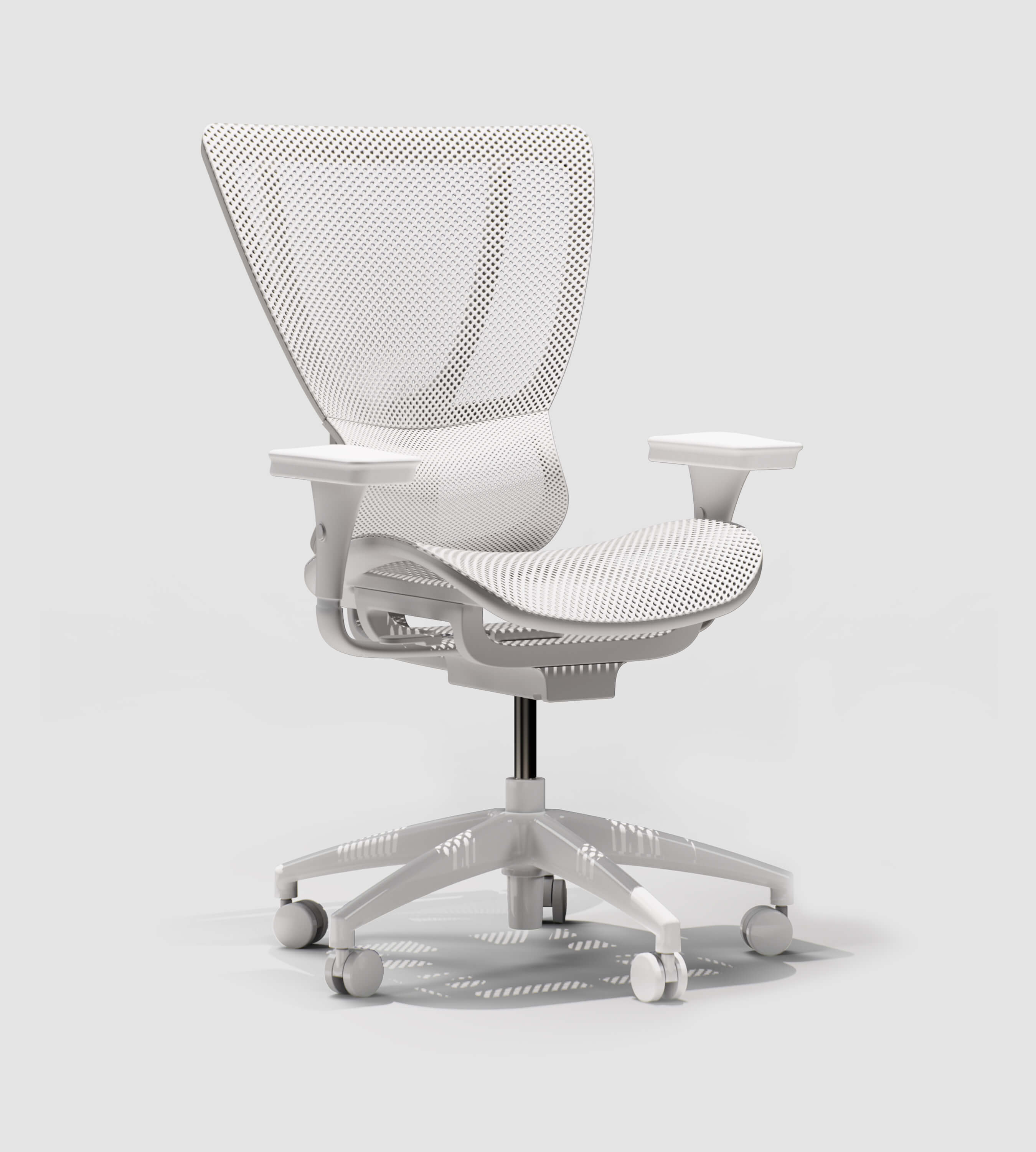 3D CAD Render by Sprout Studios of a white office chair