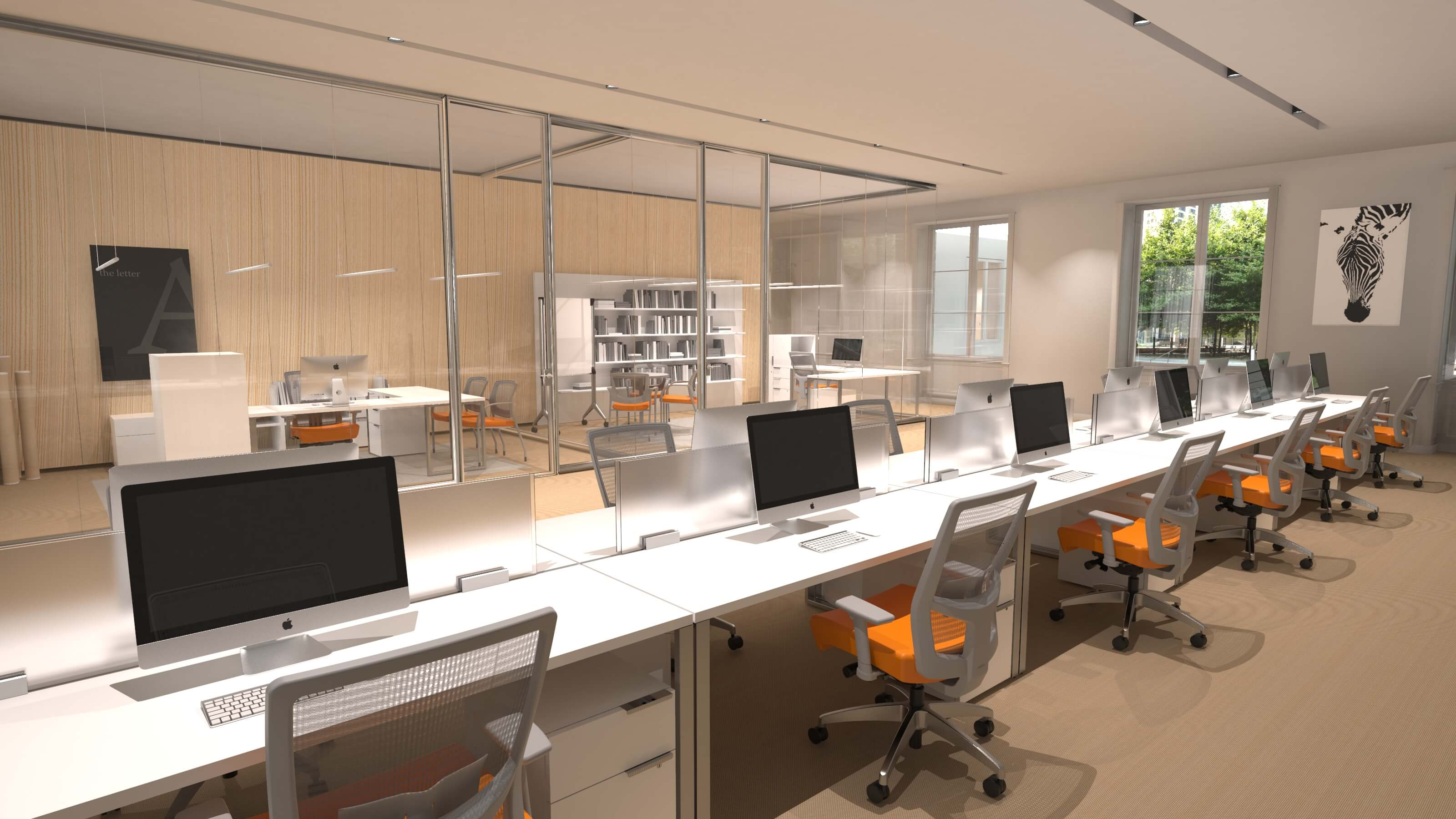 3D CAD Render by Sprout Studios of an office