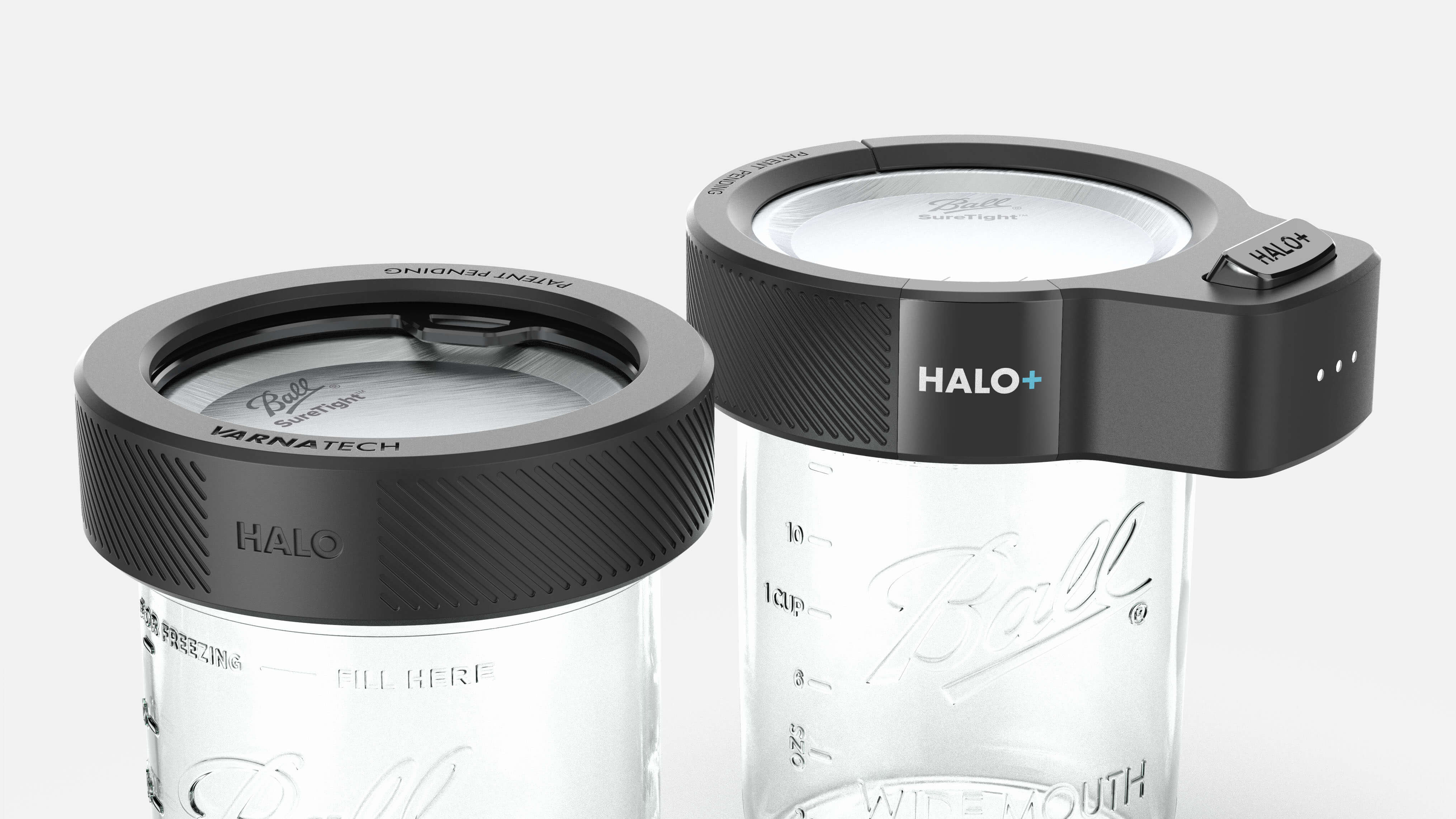 3D CAD Render by Sprout Studios of Varna Tech Halo and Halo+ on Mason Jar